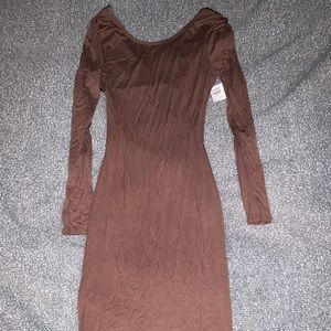 Midi brown dress with faux leather back detail